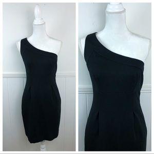 Trina Turk Solid Black One Shoulder Dress Size 6